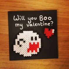 Will you Boo my Valentine? - Valentines Mario card hama beads by fishbowl.space