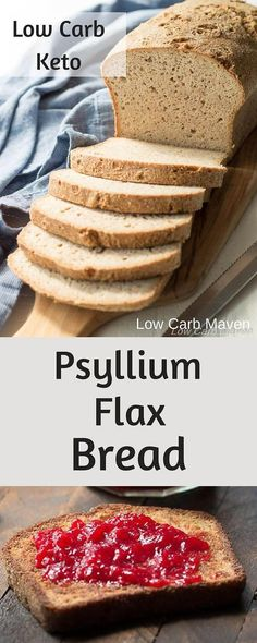 Make a delicious low carb sandwich on this Low Carb Keto Psyllium Bread! This gluten free bread recipe has only 3 net carbs per slice!