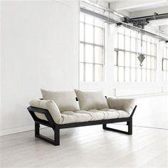 Sofa-cama Edge natural con estructura color negro, 75 x 200 cm