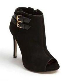 NEW Steve Madden Women Amberr Leather Stacked Heel Peep-Toe Ankel Boots 7.5 M #SteveMadden #FashionAnkle