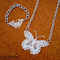 Make your Own Lace Butterfly DIY Jewelry : http://www.craftsunleashed.com/jewelry-main/lace-butterfly-diy-jewelry/