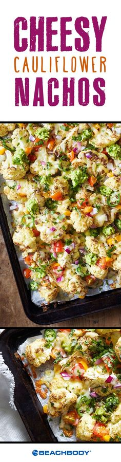 This fun cauliflower recipe is a great way to indulge in your nacho cravings, without heaps of unnecessary salt and fat. Be prepared for this dish to disappear within minutes! // recipes // healthy //(Healthy Recipes For Cauliflower Cheese, Cauliflower Recipes, Veggie Recipes, Mexican Food Recipes, Jalapeno Recipes, Tilapia Recipes, Kid Recipes, Dishes Recipes, Party Recipes
