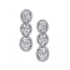 Women's Diamond Earring by Harry Kotlar Kotlar Cushion Three-Stone... found on Polyvore featuring jewelry, earrings, accessories, orecchini, silver, holiday earrings, pave earrings, long drop earrings, long earrings and drop earrings