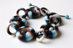 Land and Sea. Polymer Clay Bracelet. by SilviaOrtizDeLaTorre