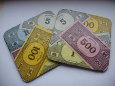 Monopoly coasters - fun idea for a game room