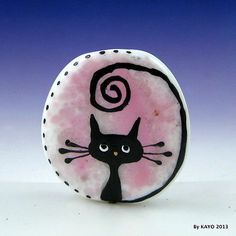 """Tall Tail Tessie"" Bykayo A Handmade Funny Cat Lampwork Art Glass Focal Bead SRA 
