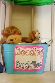 Stuffed animal reading buddy bin.  I like this idea since sometimes my little ones need something snuggly.  I'll change the label so it matches my classroom.