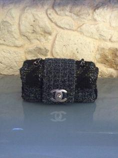 Troc echange occasion Chanel sac Timeless défilé en tweed moucheté bleu vert