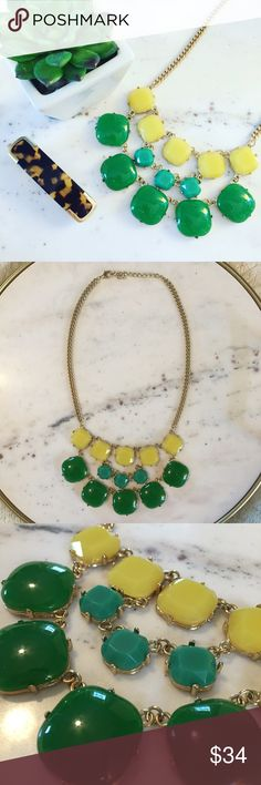 NWOT Yellow & Green Statement Necklace Vibrant & fun, this statement necklace always reminds me of Brazil! The plastic stones are yellow, teal, & Kelly green. It has an adjustable gold colored chain. All plastic stones are securely in place with prongs. New without tags. Merona Jewelry Necklaces