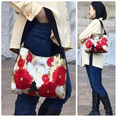 Silk Red Gold Mum Floral Kimono Obi Bag Upcycled From Vintage Japanese Silk Obi, Silk Obi Shoulder bag, Japanese Purse, Mum, Silk Obi bag Kimono Fabric, Floral Kimono, Silk Fabric, Japanese Fabric, Japanese Kimono, Japan Bag, Fabric Handbags, Denim Bag, Vintage Japanese
