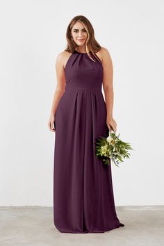 Dove & Dahlia Isabelle Bridesmaid Dress in Plum in Chiffon