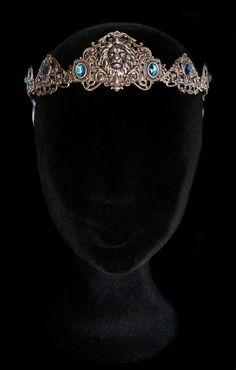 Lion Crown Silver Circlet Tiara Blue Turquoise por AMonSeulDesir