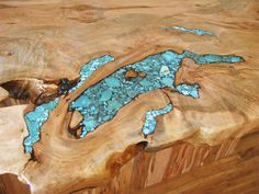 Turquoise Inlay in natural wood; gorgeous for a table.