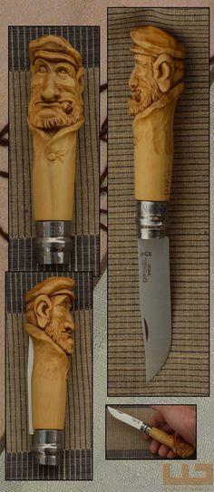 Gerdil Лоран - Скульптура - Opinel № 8. самшит ручка резные и выветривания. (Специальный преданность Gillou ..)