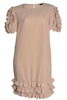 Whitney Eve Sheath Dress Beige 4 Ruffle Hem Sleeve Mini Cocktail Party NWOT #WhitneyEve #Sheath #Cocktail