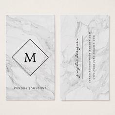 Monogram modern marble business card