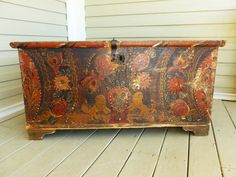 Antique 1800's, Heavily Hand Painted, Primitive Pine Peasant Trunk, Nuptual Trunk, Folk Art, European