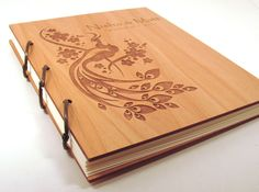 Wooden Wedding Guest Book Photo Album LARGE SIZE - Peacock Design. $45.00, via Etsy.
