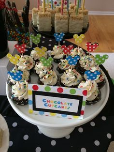 Sweet Simplicity Bakery: Mickey Mouse Clubhouse Dessert and Candy Buffet Table Display; Mini Cupcakes with Mickey Mouse Cupcake Toppers