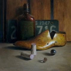 """Wooden Shoe with Bottle"" original fine art by Michael Naples"