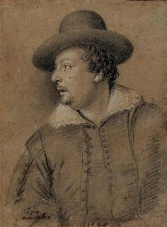 Ottavio Leoni (Rome, 1578-1630) ~ Portrait of Tommaso Salini (Italian, Rome ca. 1575-1625 Rome) ~ 1620 ~ chalk on paper ~ Biblioteca Marucelliana, Firenze ~ Tommaso Salini was an Italian painter of the early-Baroque period, active in Rome. He is best remembered for defending his friend, Giovanni Baglione, in his libel suit against Caravaggio and other painters in his circle.
