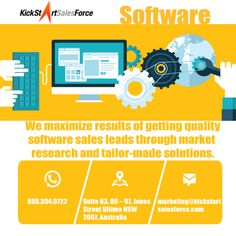 We maximize results of getting quality software sales leads through market research and tailor-made solutions.Do you want to learn our services, click here:http://www.kickstartsalesforce.com/industries/