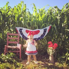 Fourth of July picture idea for baby/kids in a corn field with a flag