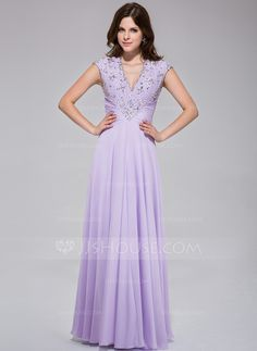 [US$ 148.99] A-Line/Princess V-neck Floor-Length Chiffon Prom Dress With Ruffle Lace Beading Sequins (018025512)