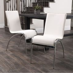 Modern Set of Two Chairs Chrome Legs Stylish Dining Room Furniture White Finish