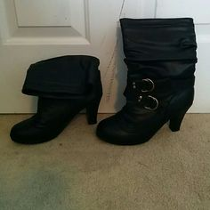 "NWOT! 3"" Black Strapped Boots Pair of NEW black high heel boots with gold buckles. Never worn! Rue 21 Shoes"
