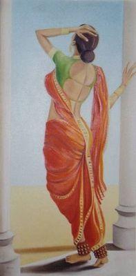 Intezar waiting - Oil on Canvas Indian Women Painting, Indian Artist, Indian Artwork, Indian Paintings, Woman Painting, Painting & Drawing, India Art, Beautiful Paintings, Figurative Art