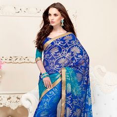 Blue and Turquoise Faux Georgette Saree with Blouse