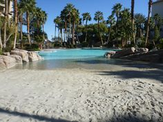 Tahiti Village's pool is one of the best family pools in Las Vegas with a sandy beach entry.