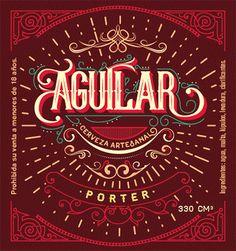 Diseño de etiqueta para Cerveza Aguilar. Elaboración artesanal.