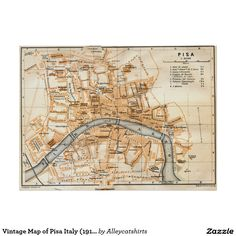 Vintage Map of Pisa Italy (1913) Poster