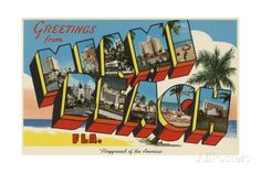 Greetings from Miami Beach Postcard Giclee Print at AllPosters.com