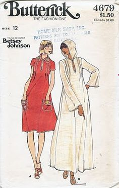 Butterick 4679. Another Betsey Johnson design from the 1970s. The version with the collar is a keeper!