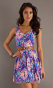 Buy Short Sleeveless Print Dress at SimplyDresses