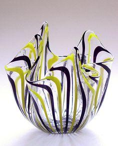 VENINI Yellow Black SIGNED Fazzoletto Vase