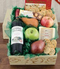 Fruit, Cheese & Stone Cellars Merlot Wine Gift Basket