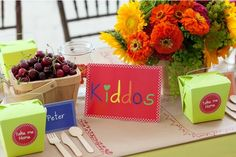 Kid table at a wedding.