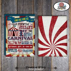 Carnival Invitation - Circus Invitation - Carnival Invite - Circus Invite - With Wrap Around Address Labels - Printable (Birthday, Vintage) by frostingandink on Etsy https://www.etsy.com/listing/84673780/carnival-invitation-circus-invitation