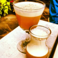 Eat Street Social's Harvest Soon: made with local gin, lemon, cocoa nib liqueur, egg white, amaro, and maple brown syrup.