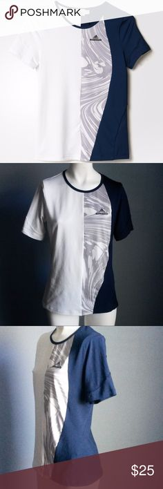 "Adidas Stella McCartney Barricade NY Tennis Tee The adidas Stella McCartney Barricade New York Tennis Tee brings NYC styling to your fashion game! Navy and White color blocking with Marble Graphic Print combine to make this a powerful look on court.  Covered shoulders and a scoop neckline. NWOT  Technology: Climalite Fabric: 88% Polyester | 12% Elastane Double Knit Color: White/Collegiate Navy/Marble Graphic  Length: 23"" Sleeve: 8"" Bust:  16.5"" Adidas by Stella McCartney Tops Tees - Short…"