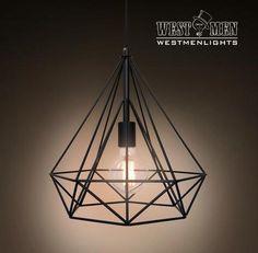 Westmenlights Diamond Geometric Industrial Chandelier Ceiling Pendant Lamp Black…