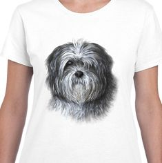 White T-Shirt Woman Women Lady Ladies Dog 138 Shih Tzu art painting by L. Shih Tzu, Lady, Clothes For Women, Dog, Woman, Clothing, Mens Tops, Painting, Fashion