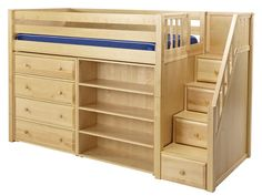 Galant Mid-Height Loft Bed with Stairs, Chest