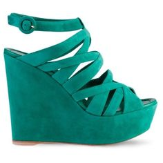 Gianvito Rossi Wedge Sandals (1.530 DKK) ❤ liked on Polyvore featuring shoes, sandals, wedges, high heels, ankle strap wedge sandals, wedges shoes, ankle tie sandals, green wedge sandals and suede shoes