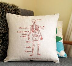Hand Embroidered Skeleton Cushion Cover in French by frankison