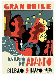 joaquín pertierra - cartel fiestas de bilbao. 1934